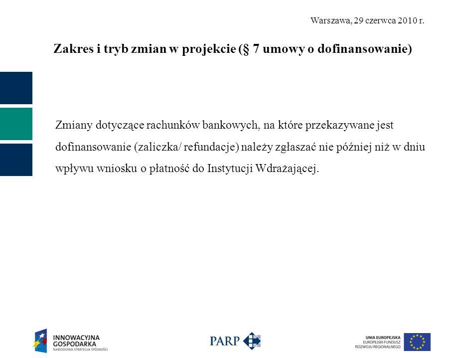 Zakres i tryb zmian w projekcie (§ 7 umowy o dofinansowanie)