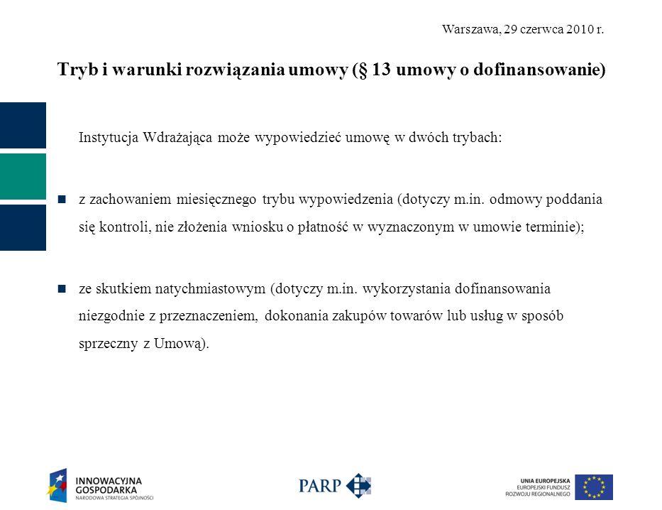Tryb i warunki rozwiązania umowy (§ 13 umowy o dofinansowanie)