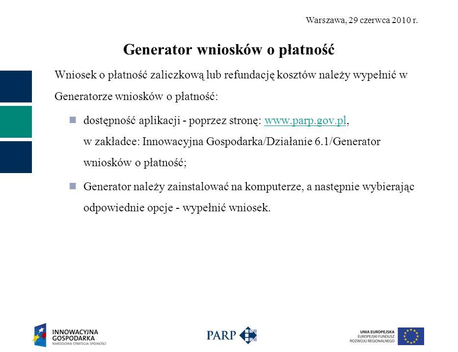 Generator wniosków o płatność