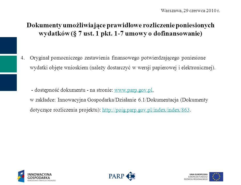 Dokumenty umożliwiające prawidłowe rozliczenie poniesionych wydatków (§ 7 ust. 1 pkt. 1-7 umowy o dofinansowanie)