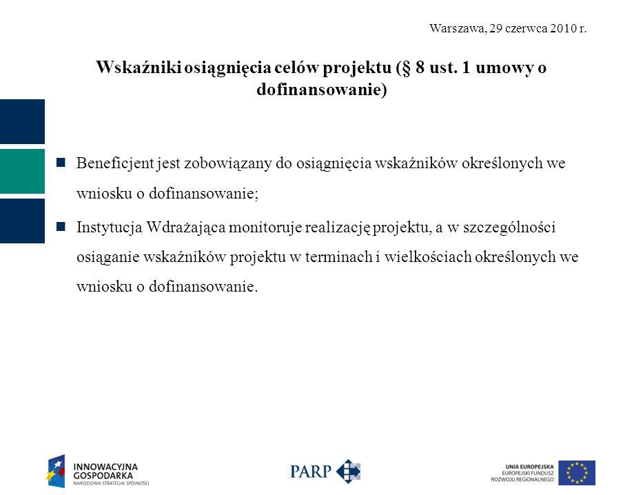 Wskaźniki osiągnięcia celów projektu (§ 8 ust