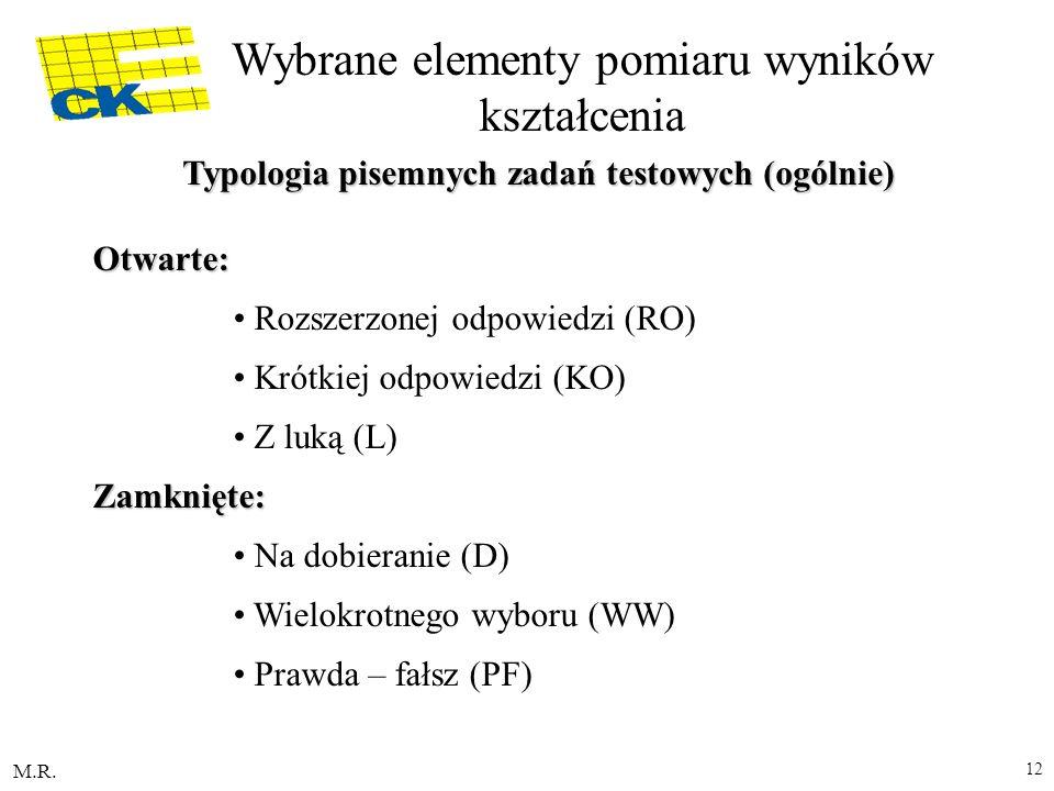 Typologia pisemnych zadań testowych (ogólnie)