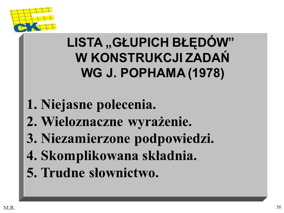 """LISTA """"GŁUPICH BŁĘDÓW W KONSTRUKCJI ZADAŃ WG J. POPHAMA (1978)"""