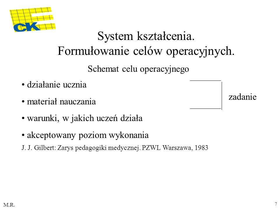 System kształcenia. Formułowanie celów operacyjnych.