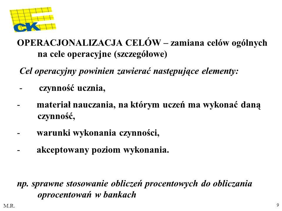 Cel operacyjny powinien zawierać następujące elementy: