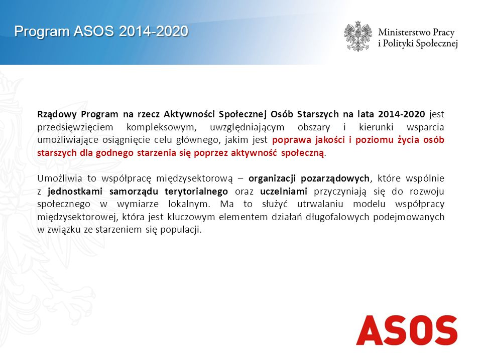Program ASOS 2014-2020