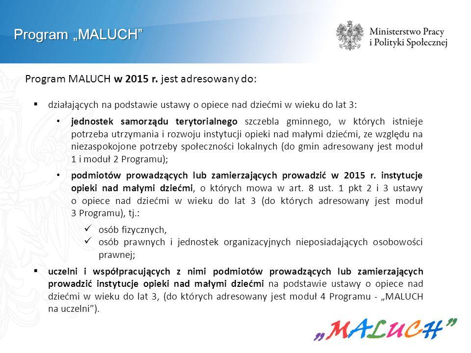 """Program """"MALUCH Program MALUCH w 2015 r. jest adresowany do:"""