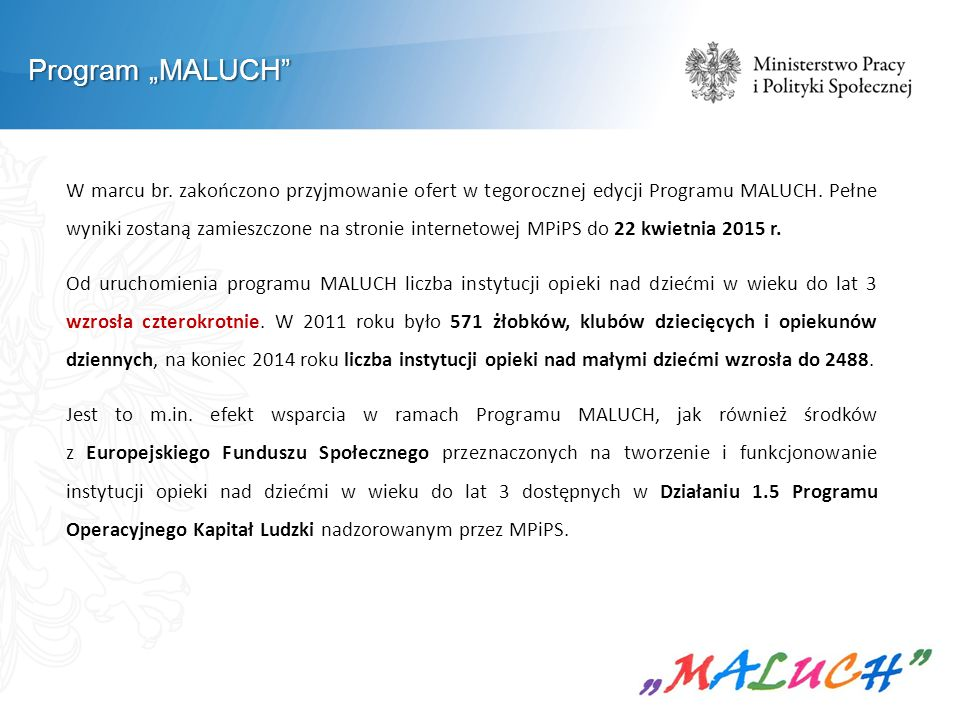 "Program ""MALUCH"