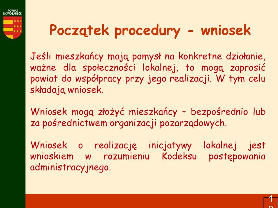 Początek procedury - wniosek