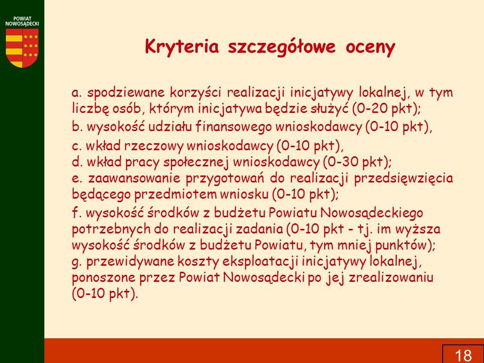 Kryteria szczegółowe oceny