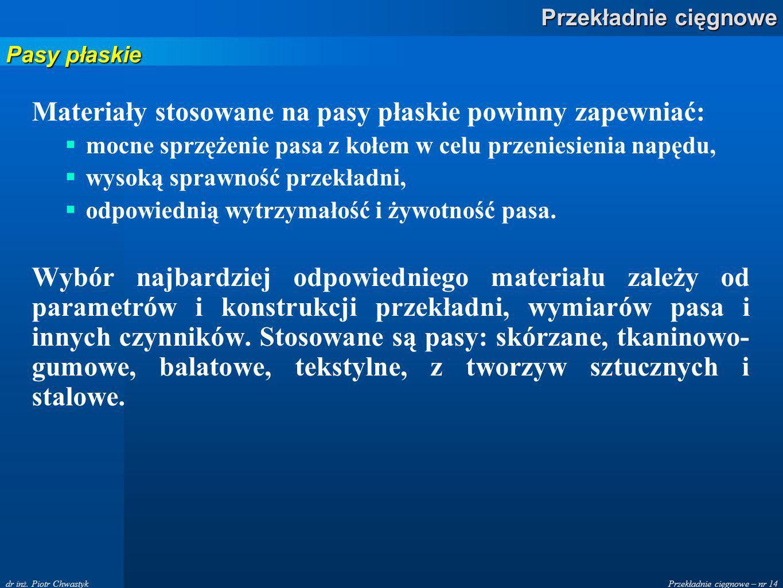 Materiały stosowane na pasy płaskie powinny zapewniać: