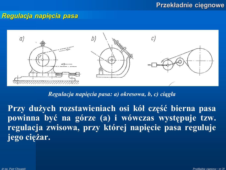 Regulacja napięcia pasa: a) okresowa, b, c) ciągła