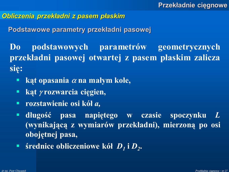 Podstawowe parametry przekładni pasowej