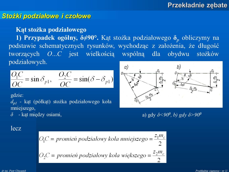 a) gdy δ<900, b) gdy δ>900