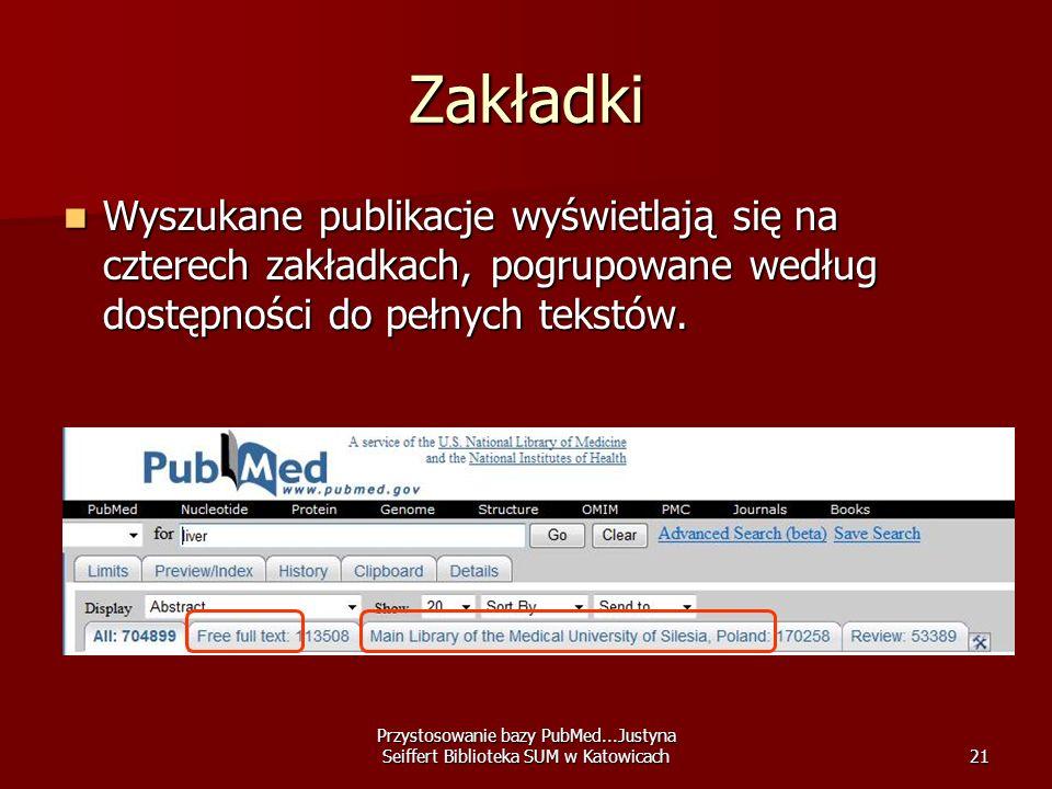 Zakładki Wyszukane publikacje wyświetlają się na czterech zakładkach, pogrupowane według dostępności do pełnych tekstów.