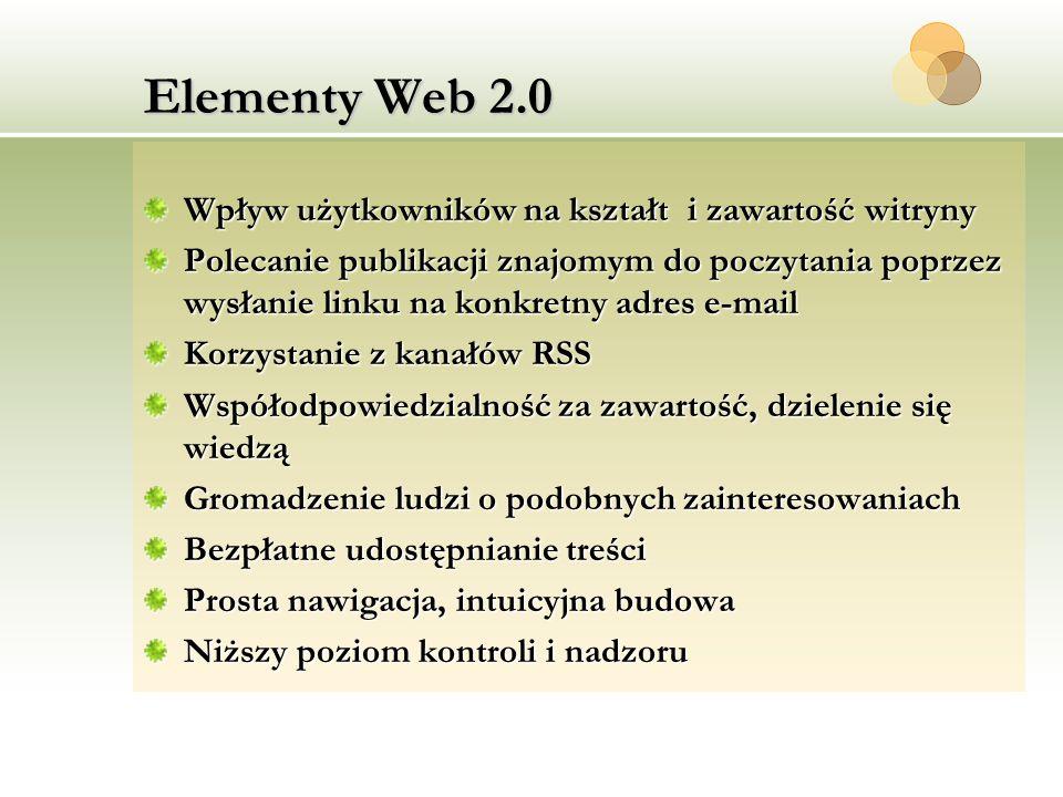 Elementy Web 2.0 Wpływ użytkowników na kształt i zawartość witryny
