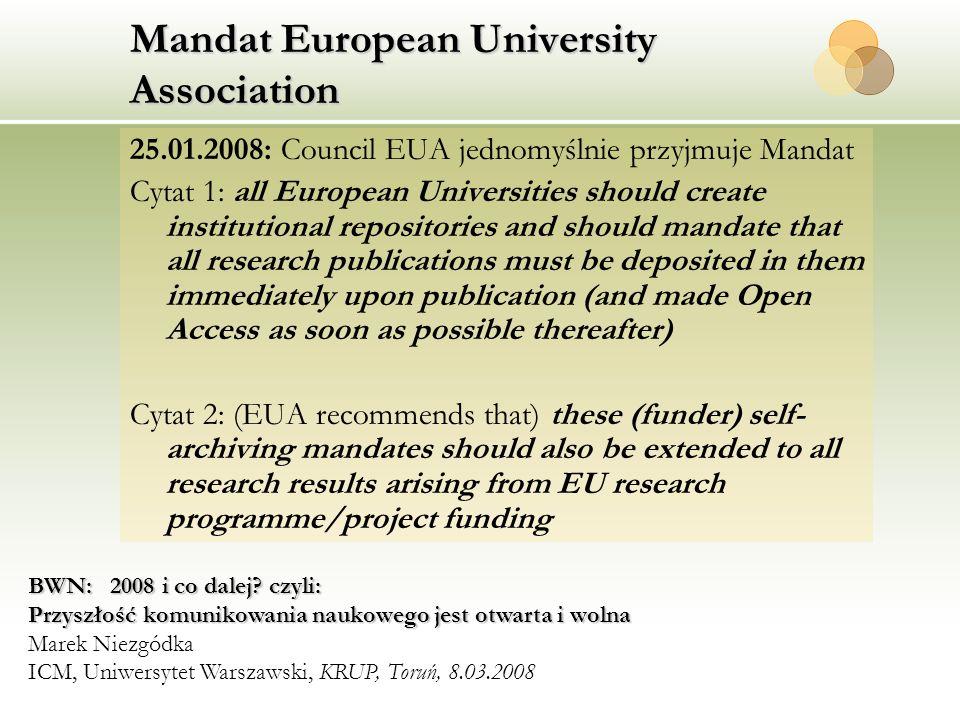 Mandat European University Association