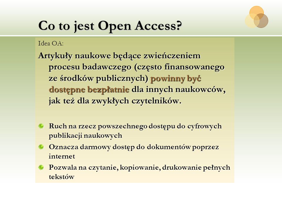Co to jest Open Access Idea OA: