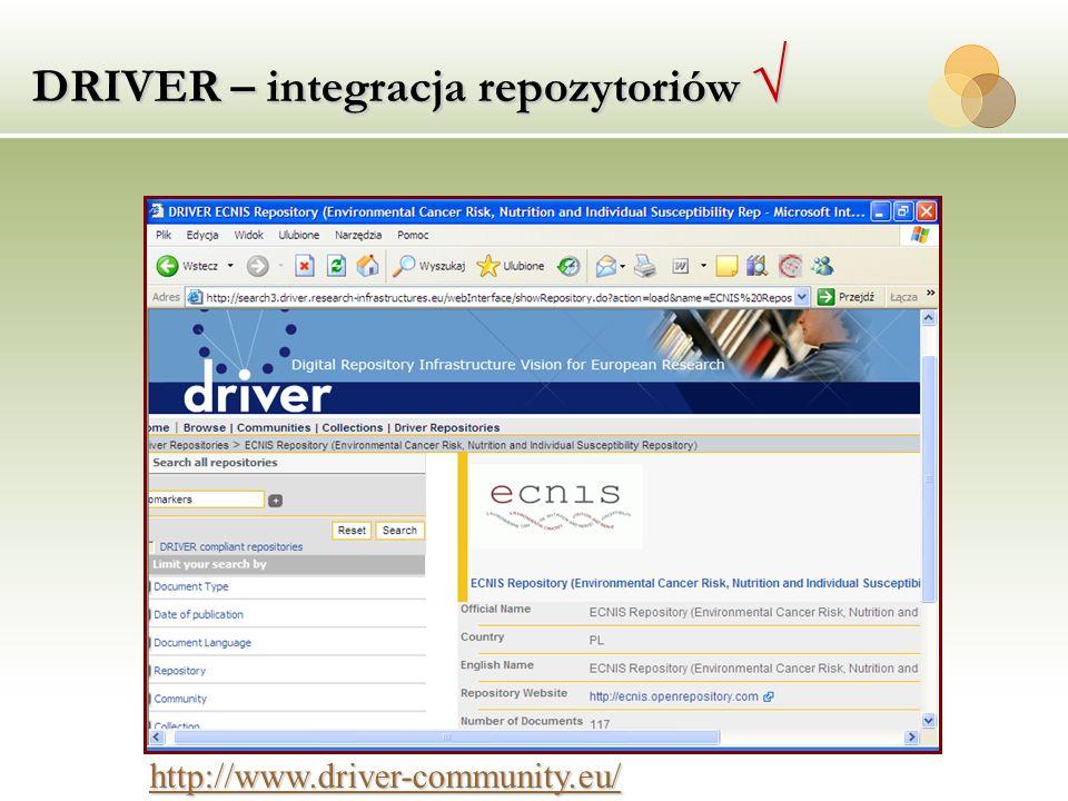 DRIVER – integracja repozytoriów √