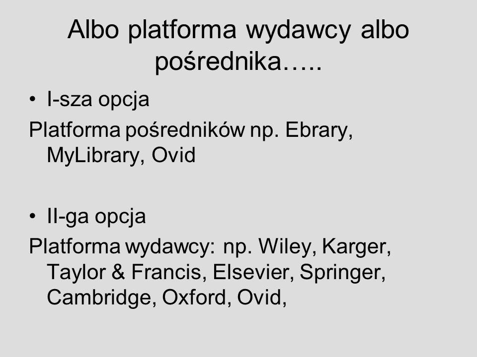 Albo platforma wydawcy albo pośrednika…..