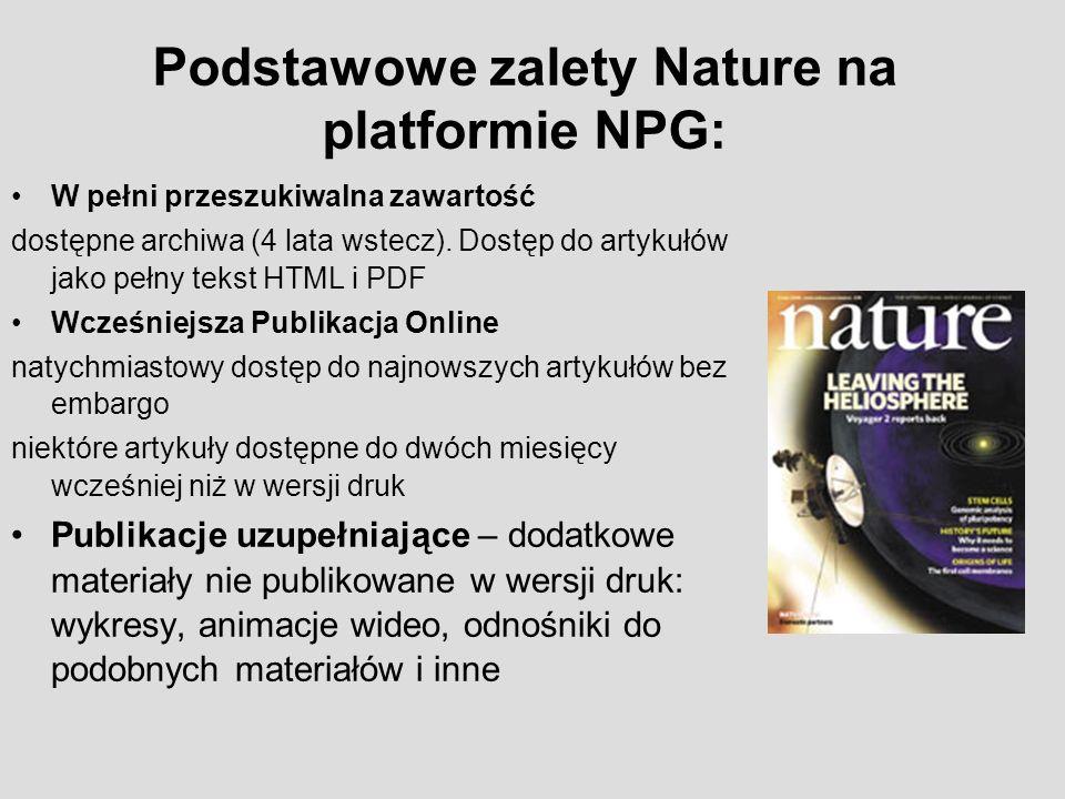 Podstawowe zalety Nature na platformie NPG: