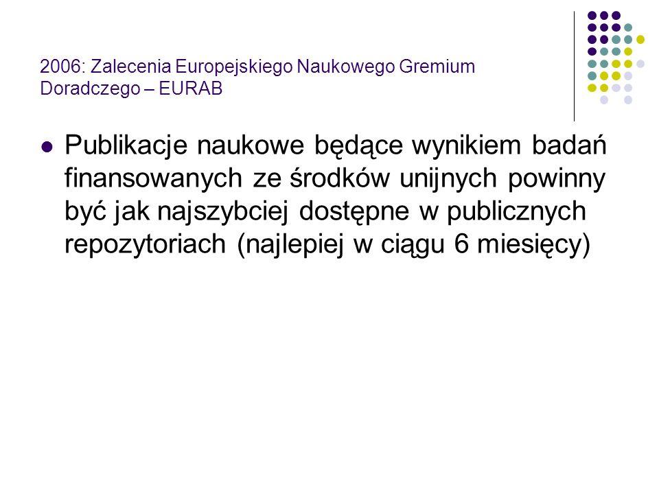 2006: Zalecenia Europejskiego Naukowego Gremium Doradczego – EURAB