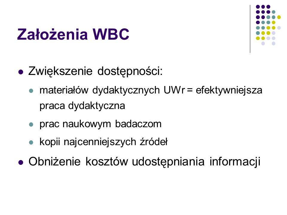 Założenia WBC Zwiększenie dostępności: