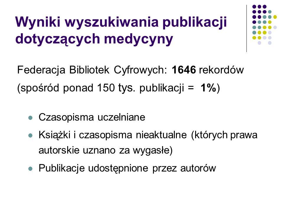 Wyniki wyszukiwania publikacji dotyczących medycyny