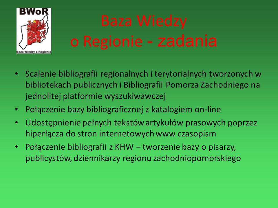 Baza Wiedzy o Regionie - zadania