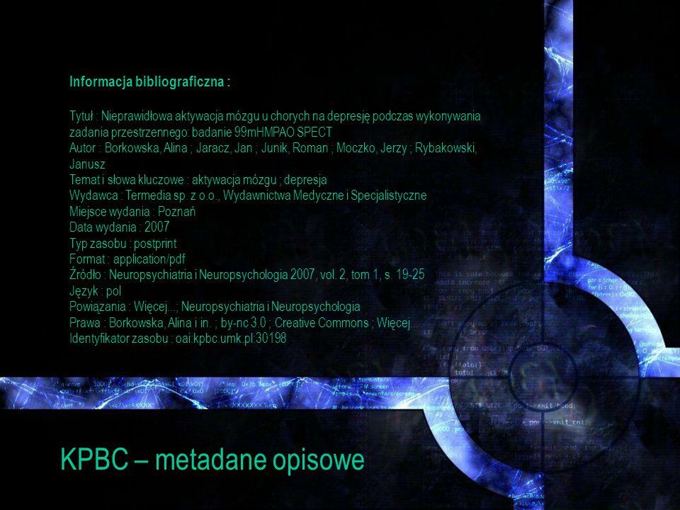 KPBC – metadane opisowe