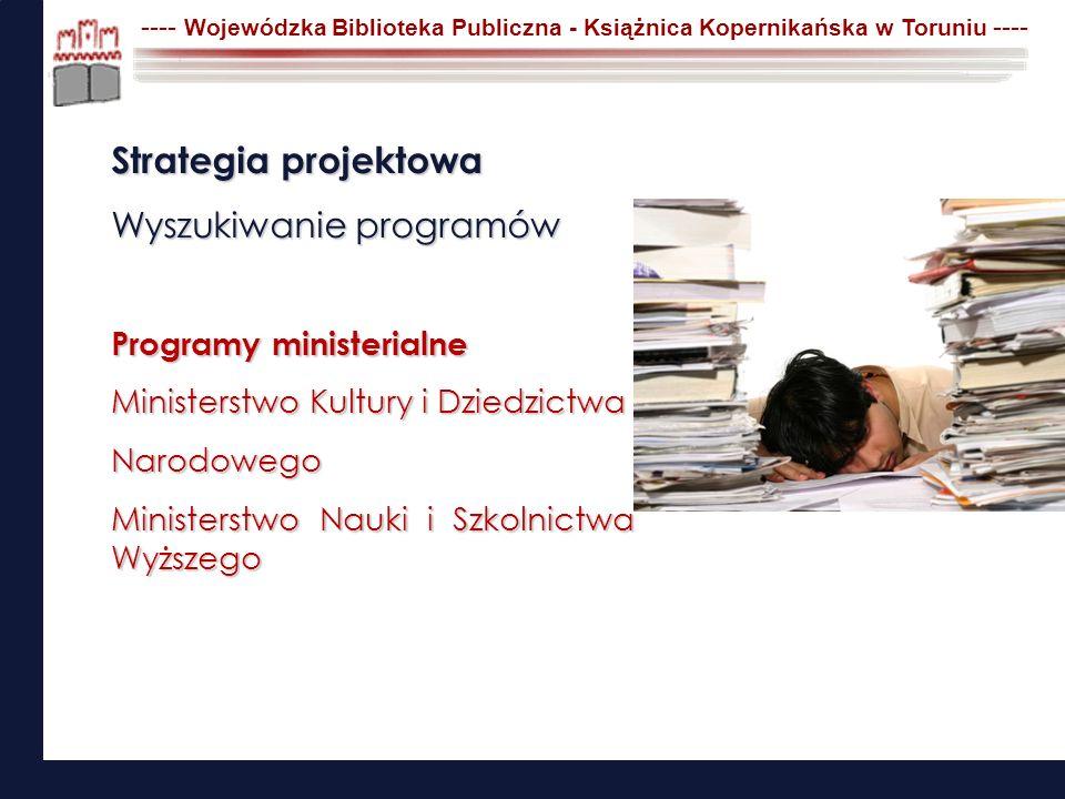 Strategia projektowa Wyszukiwanie programów Programy ministerialne