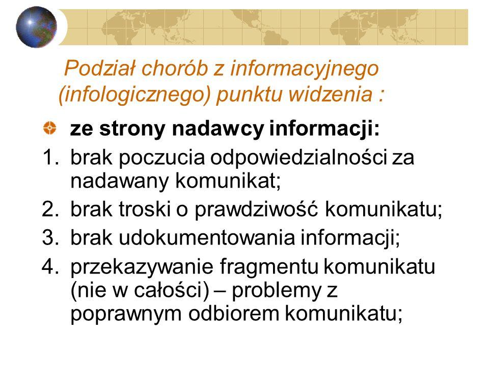 Podział chorób z informacyjnego (infologicznego) punktu widzenia :