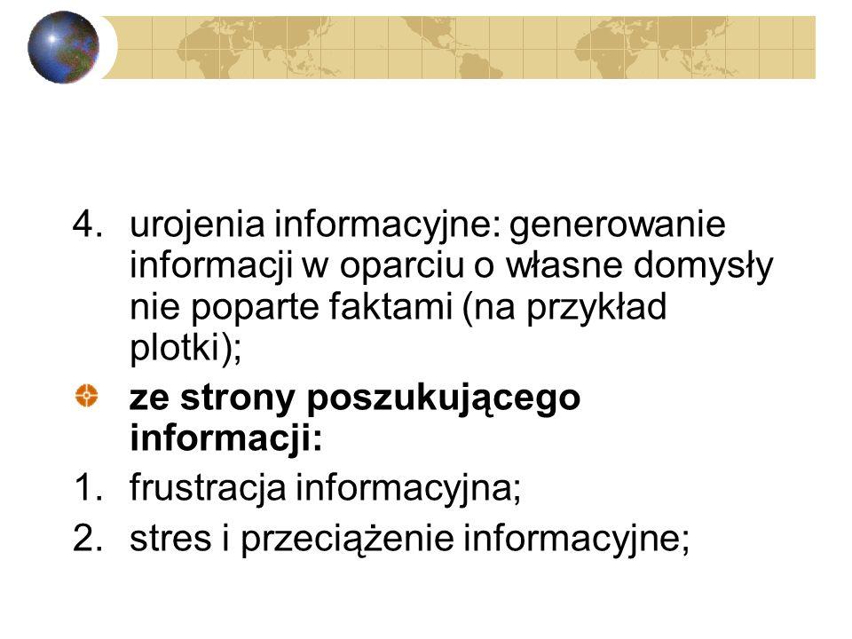 4. urojenia informacyjne: generowanie informacji w oparciu o własne domysły nie poparte faktami (na przykład plotki);