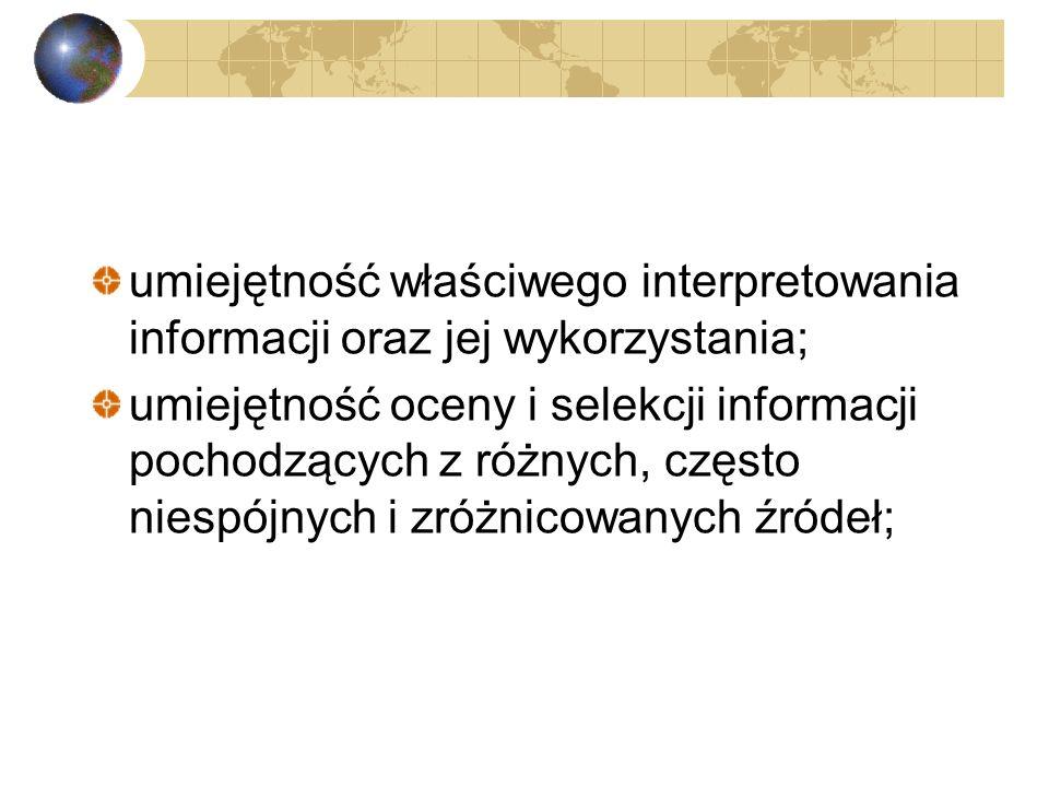 umiejętność właściwego interpretowania informacji oraz jej wykorzystania;