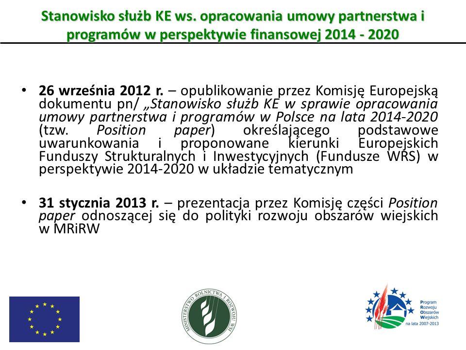 Stanowisko służb KE ws. opracowania umowy partnerstwa i programów w perspektywie finansowej 2014 - 2020