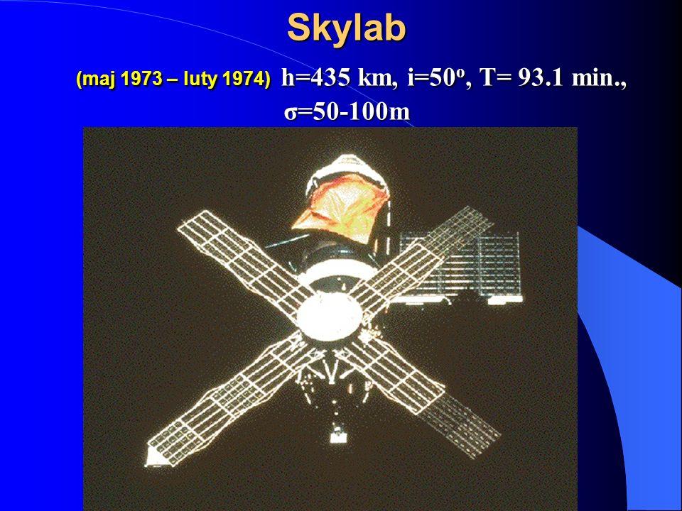 Skylab (maj 1973 – luty 1974) h=435 km, i=50o, T= 93.1 min., σ=50-100m
