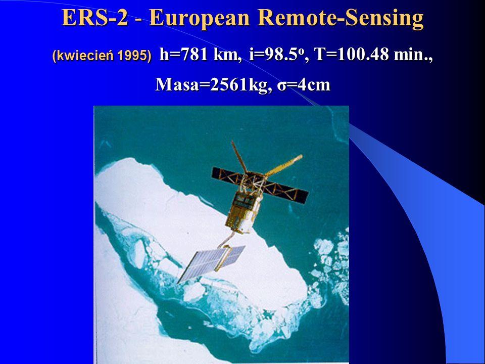 ERS-2 - European Remote-Sensing (kwiecień 1995) h=781 km, i=98