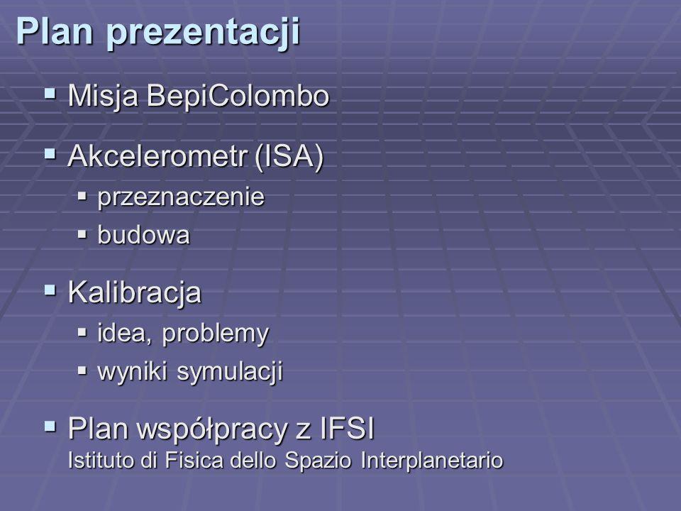 Plan prezentacji Misja BepiColombo Akcelerometr (ISA) Kalibracja