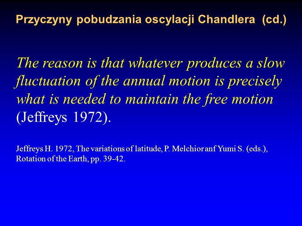 Przyczyny pobudzania oscylacji Chandlera (cd.)