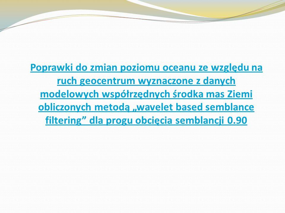 """Poprawki do zmian poziomu oceanu ze względu na ruch geocentrum wyznaczone z danych modelowych współrzędnych środka mas Ziemi obliczonych metodą """"wavelet based semblance filtering dla progu obcięcia semblancji 0.90"""