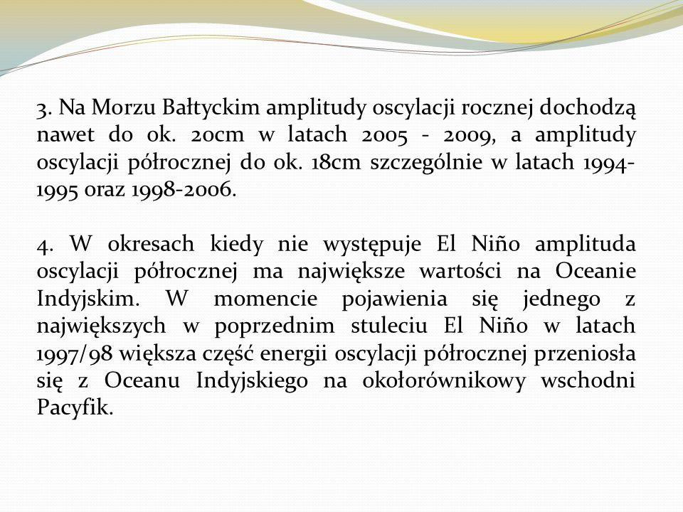 3. Na Morzu Bałtyckim amplitudy oscylacji rocznej dochodzą nawet do ok