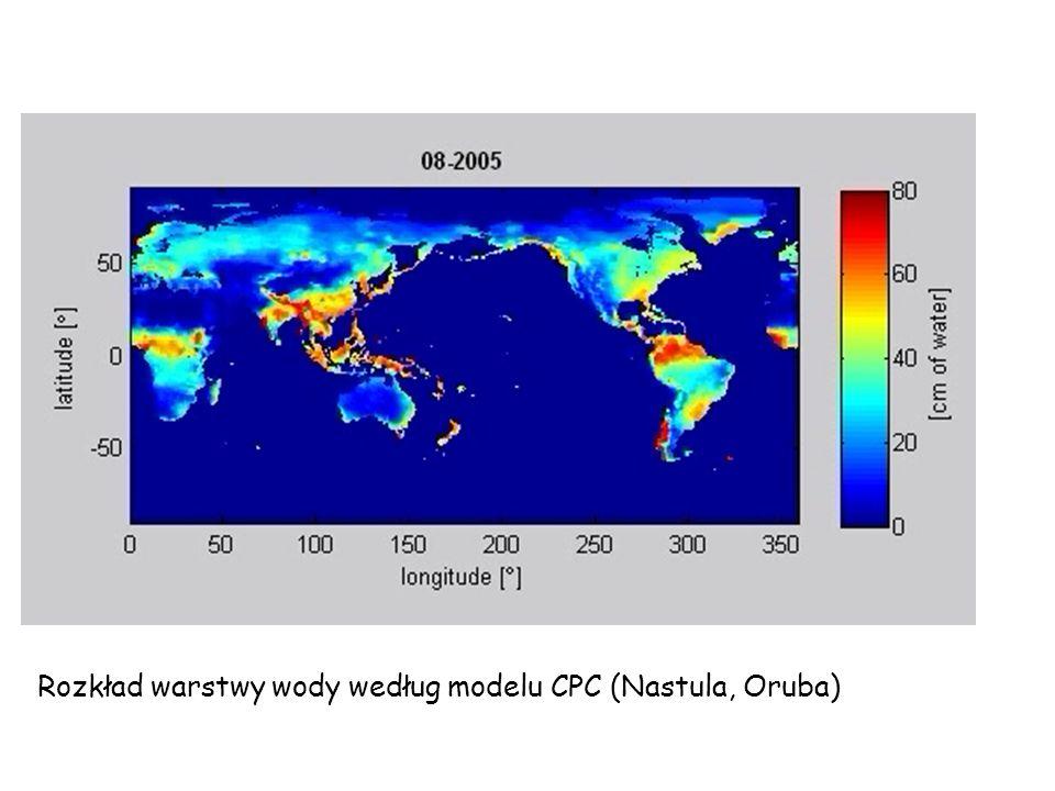 Rozkład warstwy wody według modelu CPC (Nastula, Oruba)