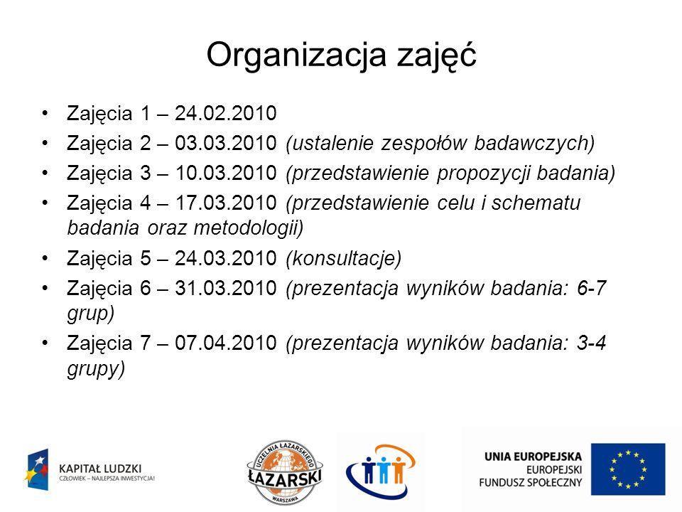 Organizacja zajęć Zajęcia 1 – 24.02.2010