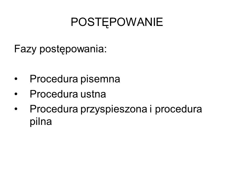 POSTĘPOWANIE Fazy postępowania: Procedura pisemna Procedura ustna