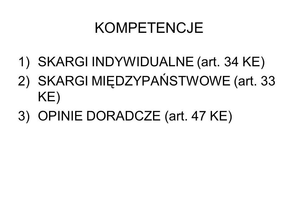 KOMPETENCJE SKARGI INDYWIDUALNE (art. 34 KE)