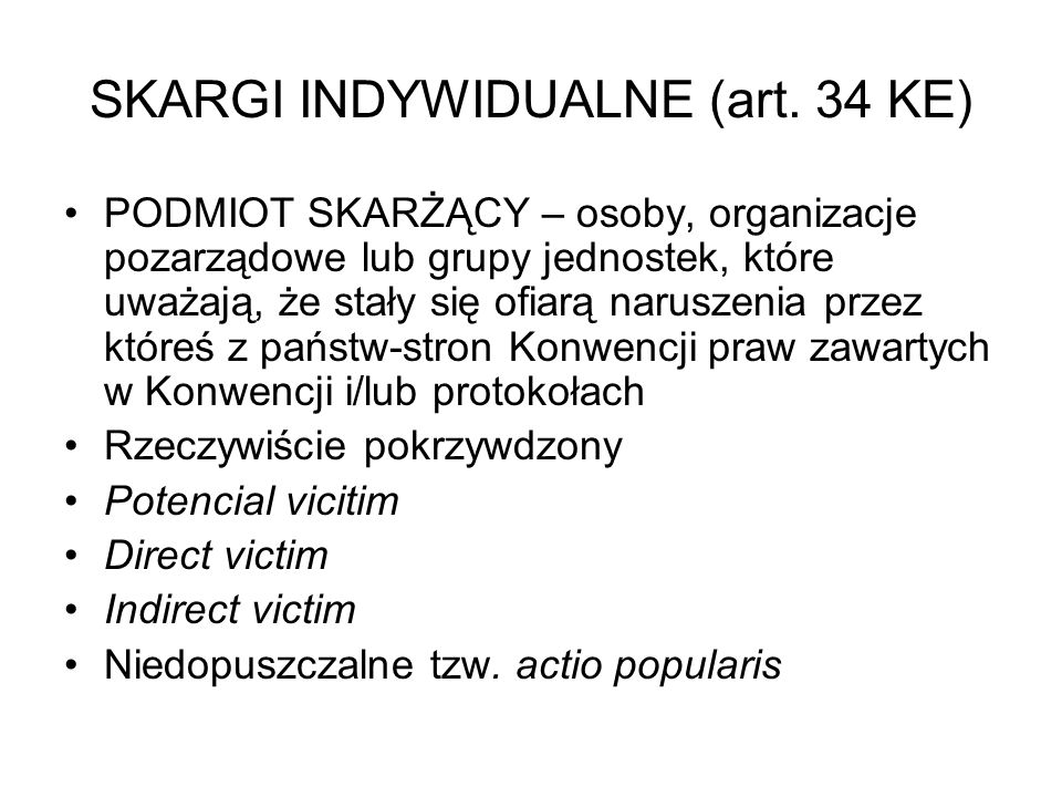 SKARGI INDYWIDUALNE (art. 34 KE)