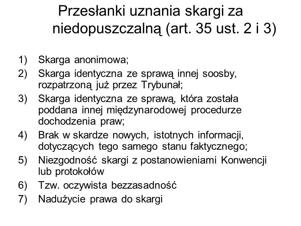 Przesłanki uznania skargi za niedopuszczalną (art. 35 ust. 2 i 3)