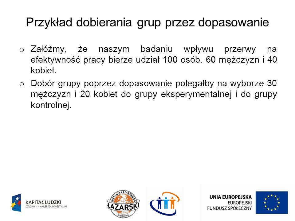 Przykład dobierania grup przez dopasowanie