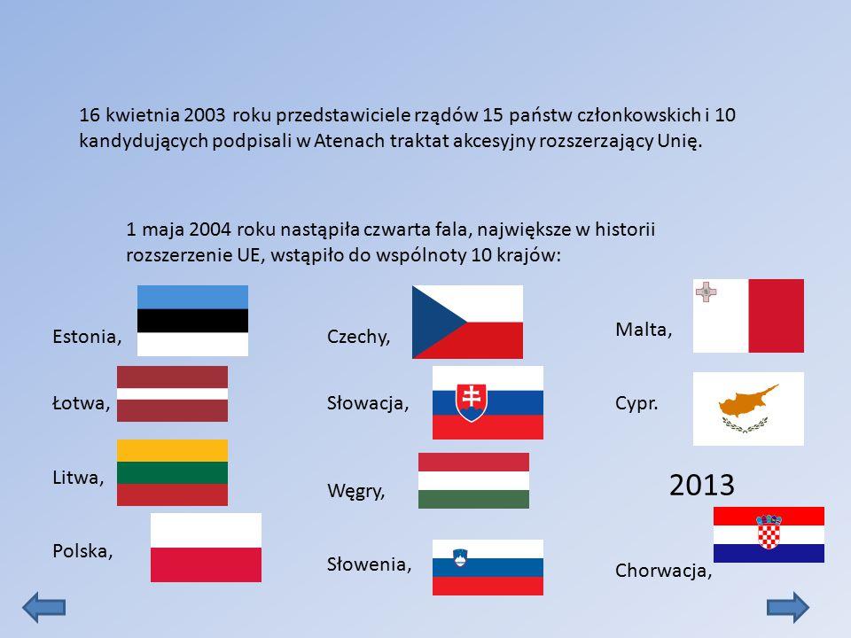 16 kwietnia 2003 roku przedstawiciele rządów 15 państw członkowskich i 10 kandydujących podpisali w Atenach traktat akcesyjny rozszerzający Unię.