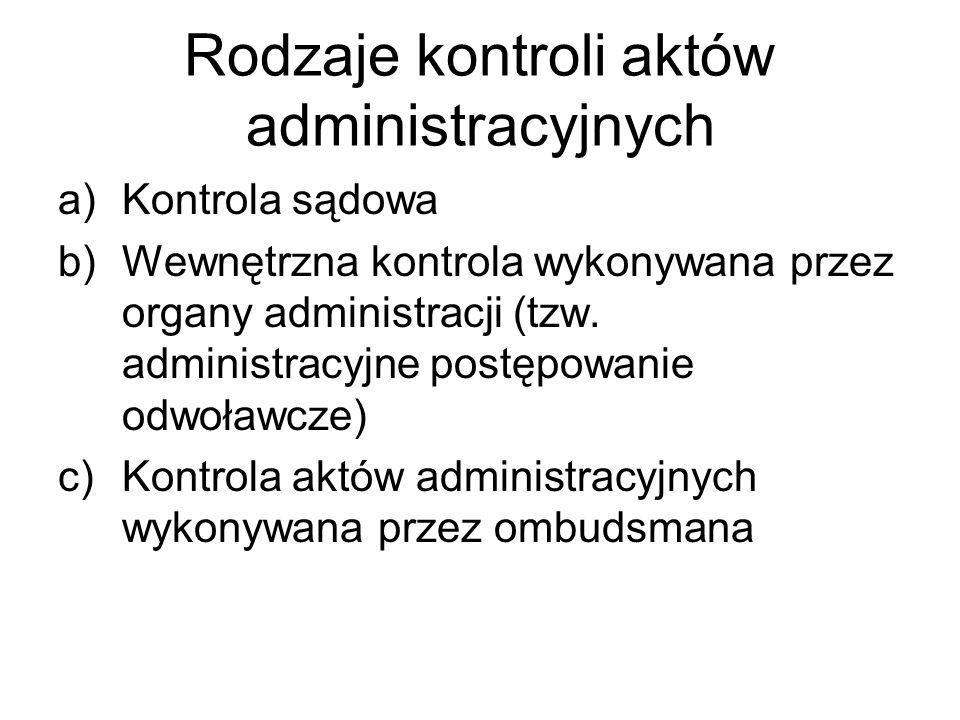 Rodzaje kontroli aktów administracyjnych